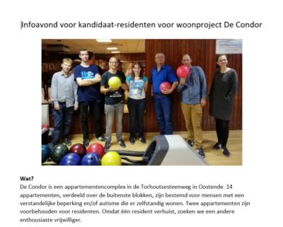 Oproep info avond voor kandidaat-residenten De Condor.